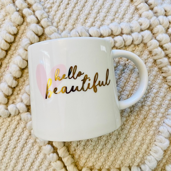 Hello, Beautiful White Big Porcelain Boho Mug ❤️